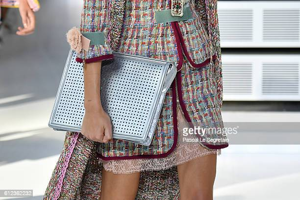 A modelbag detail walks the runway during the Chanel show as part of the Paris Fashion Week Womenswear Spring/Summer 2017 on October 4 2016 in Paris...