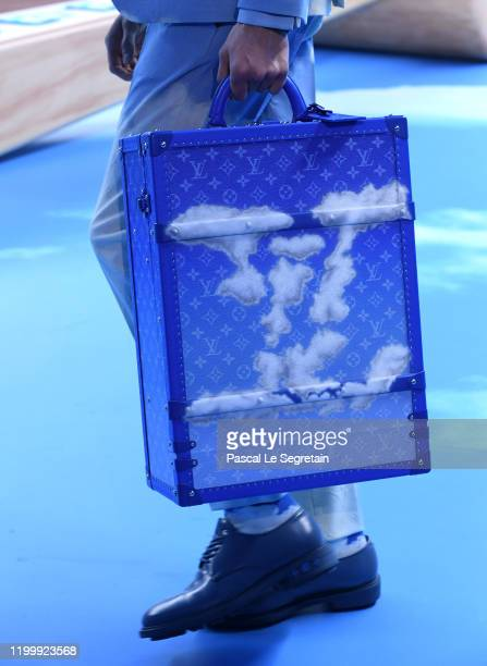 Model,bag detail, walks the runway during the Louis Vuitton Menswear Fall/Winter 2020-2021 show as part of Paris Fashion Week on January 16, 2020 in...