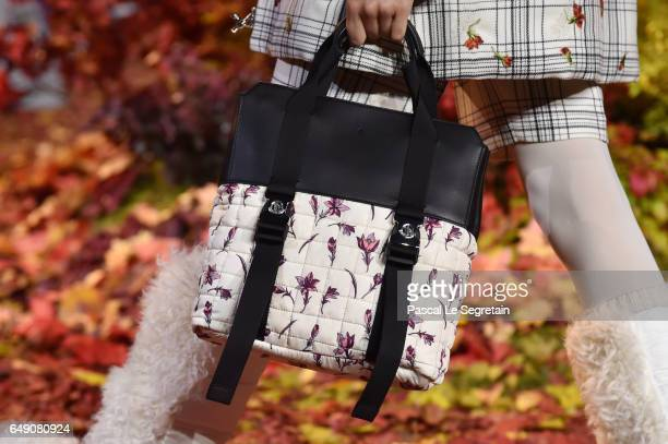 A modelbag detail walks the runway during the Moncler Gamme Rouge show as part of the Paris Fashion Week Womenswear Fall/Winter 2017/2018 on March 7...