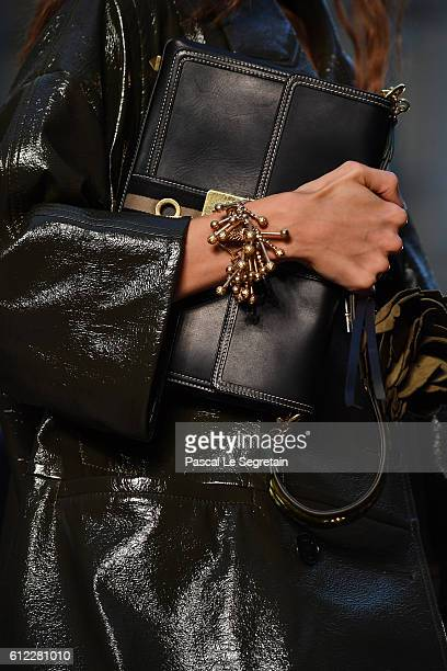 A modelbag detail walks the runway during the Sonia Rykiel show as part of the Paris Fashion Week Womenswear Spring/Summer 2017 on October 3 2016 in...