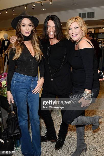 Model/blogger Courtney Sixx Scott Humphrey and Laney Ziv attend Sheri Bodell's Fall 2016 collection viewing at Kyle by Alene Too on April 7 2016 in...