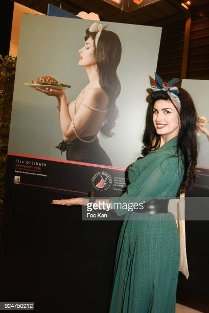 Model/comedian Elsa Oesinger attends Filles A Cotelettes Cocktail hosted by Grand Seigneur at Parc des Expositions Porte de Versailles on February 26...