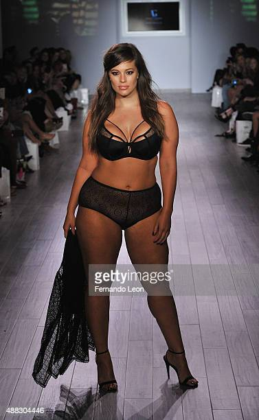 Model/designer Ashley Graham walks down the runway during the Addition Elle/Ashley Graham Lingerie Collection fashion show during the Spring 2016...
