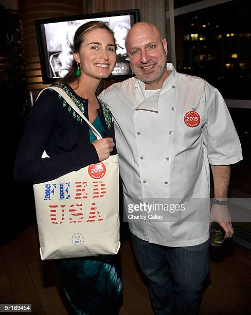 Model/designer Lauren Bush and chef Tom Colicchio attend the FEED Foundation/Hungry In America project benefit hosted by Vanity Fair held at Craft...