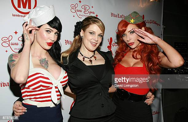 Model/designer Micheline Pitt author Lily Burana and burlesque performer Ms Redd attend the Operation Bombshell benefit event at Trader Vic's on May...