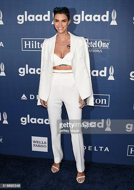 Model/DJ/actress/recording artist/honoree Ruby Rose attends the 27th Annual GLAAD Media Awards at the Beverly Hilton Hotel on April 2 2016 in Beverly...