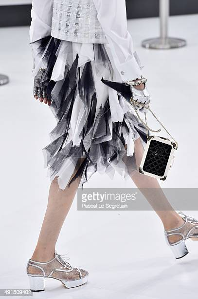 A modeldress detail walks the runway during the Chanel show as part of the Paris Fashion Week Womenswear Spring/Summer 2016 on October 6 2015 in...