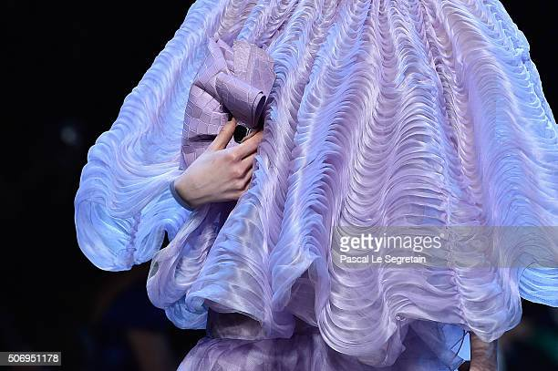 A modeldress detail walks the runway during the Giorgio Armani Prive Spring Summer 2016 show as part of Paris Fashion Week on January 26 2016 in...