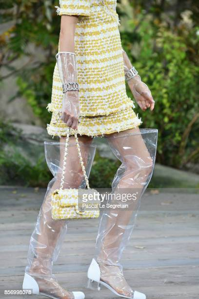 A modelfashion detail walks the runway during the Chanel Paris show as part of the Paris Fashion Week Womenswear Spring/Summer 2018 on October 3 2017...