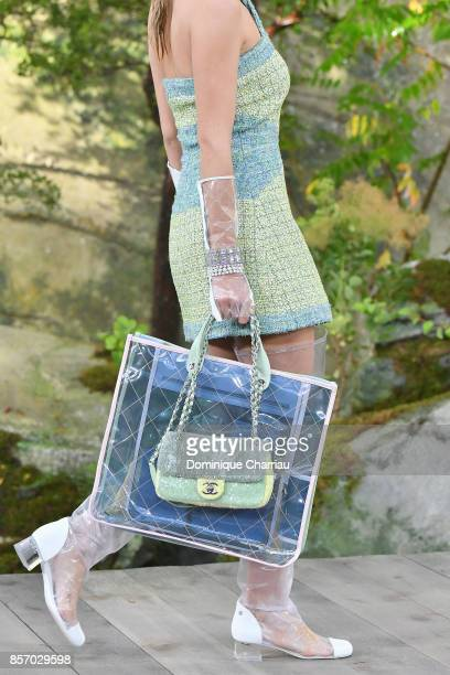 A modelfashion detail walks the runway during the Chanel show as part of the Paris Fashion Week Womenswear Spring/Summer 2018 on October 3 2017 in...