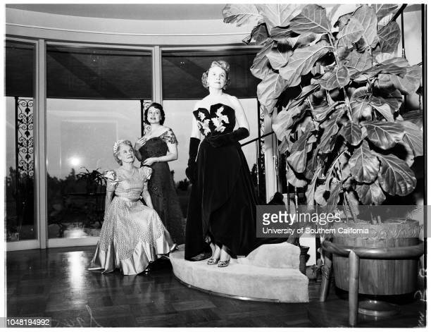 Modeling gowns to be worn at ruby ball 27 December 1951 Mrs Clarence BrownMrs Bert B MaloufMrs Kenneth B KirkMrs H Otto BamesMrs Bernard J SmithMrs...