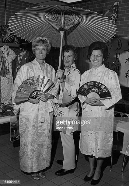 DEC 18 1969 JAN 7 1970 Modeling Japanese costumes are from left Mrs Lorraine Don¡aldson 6207 S Lafayette Place Mrs Dottie Monteith 6463 S Franklin St...