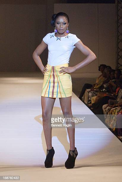 A modeling wearing the Midnight Rainbow Collection by Miss Majin at Iko Hotel and Suites on December 27 2012 in Lagos Nigeria