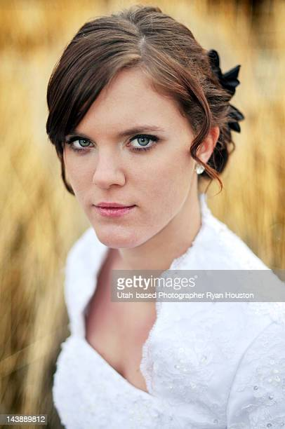 modeling wedding gown head shot - utah wedding stock pictures, royalty-free photos & images