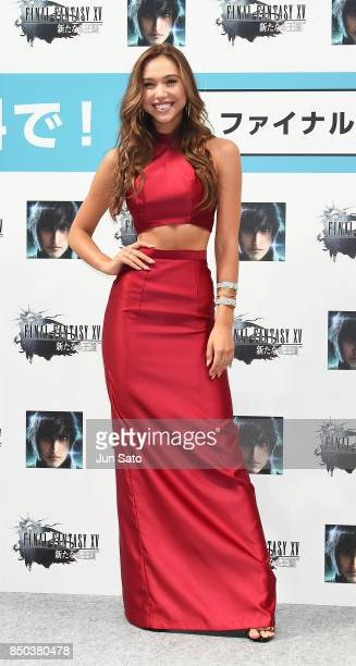 Model/Instagrammer Alexis Ren promotes 'Final Fantasy 15 A New Empire Mobile Edition' at Makuhari Messe on September 21 2017 in Chiba Japan
