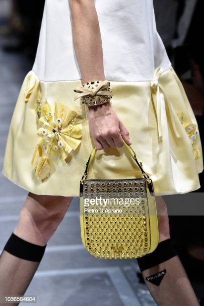 A modell bag detail walks the runway at the Prada show during Milan Fashion Week Spring/Summer 2019 on September 20 2018 in Milan Italy