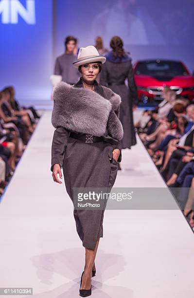 Modell walks the runway during Tamas Naray Fashion Show as part of BMW Wallis New Saloon Grand Opening Party on Sept 22, 2016 in Budapest, Hungary.