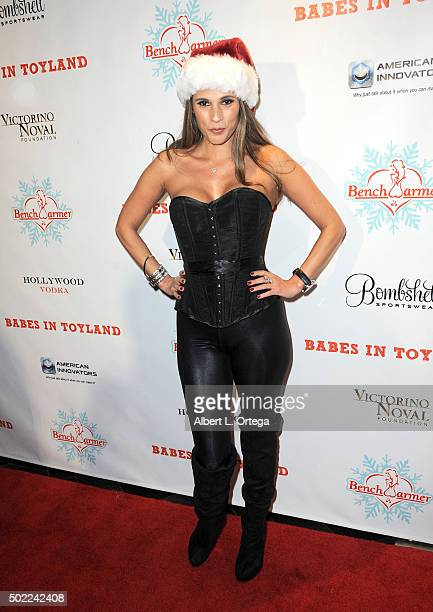 Model/Laker scout Bonnie Jill Laflin arrives for the 2015 Babes In Toyland And BenchWarmer Charity Toy Drive held at Avalon on December 9 2015 in...