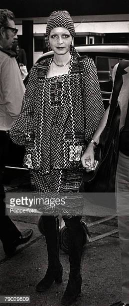 Modelling London England 1st September 1971 British model Twiggy pictured at Heathrow Airport wearing an African kanga knickerbocker suit with suede...