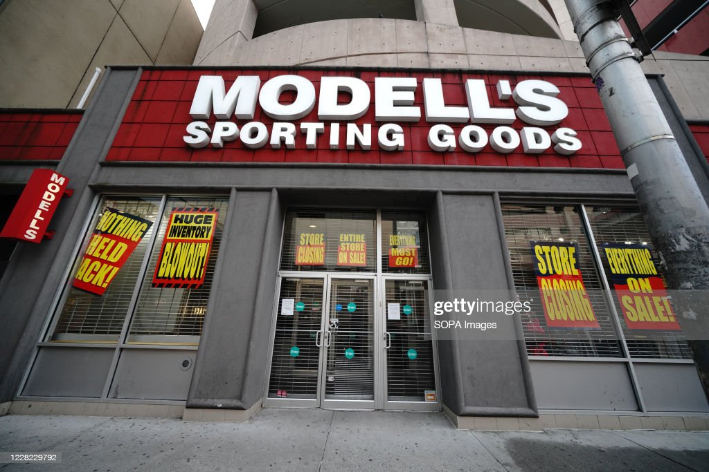 Modells Sporting Goods, logo in Queens borough... : News Photo