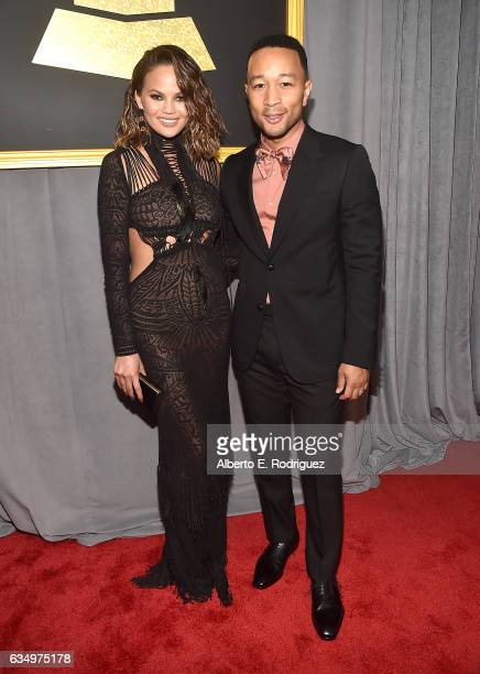 Model/Media Personality Chrissy Teigen and musician John Legend attends The 59th GRAMMY Awards at STAPLES Center on February 12 2017 in Los Angeles...