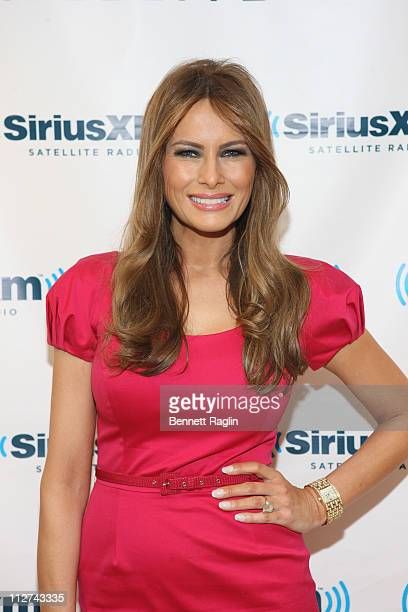 Model/mother/entrepreneur Melania Trump visits SiriusXM Studio to promote her new QVC Melania Timepieces & Jewelry Collection on Cosmo Radio on April...