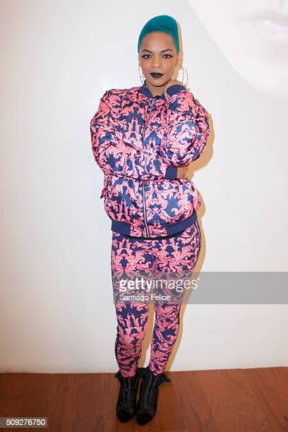 Model/Musician Sharaya J attends The Derek Zoolander Center For People Who Don't Age Good Opening on February 9 2016 in New York City