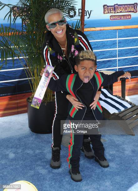 Model/personality Amber Rose and son Sebastian Taylor Thomaz arrive for Columbia Pictures And Sony Pictures Animation's World Premiere Of 'Hotel...