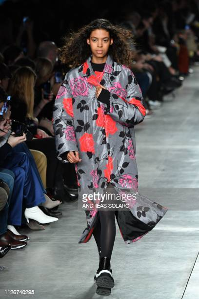 Modelpresents a creation during the MSGM women's Fall/Winter 2019/2020 collection fashion show, on February 22, 2019 in Milan.