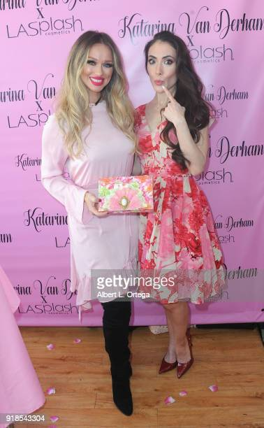 Model/publisher Katarina Van Derham and actress Mandy Amano attend the Valentine's Day Meet And Greet and Taping of docuseries 90s Girl For Katarina...
