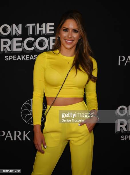 Model/ring girl Brittney Palmer arrives at the grand opening celebration of On The Record Speakeasy and Club at Park MGM on January 19 2019 in Las...