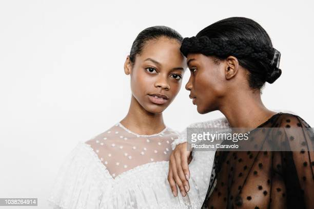 Models Aaliyah Hydes and Elibeidy Dani are seen backstage ahead of the Philosophy Di Lorenzo Serafini show during Milan Fashion Week Spring/Summer...