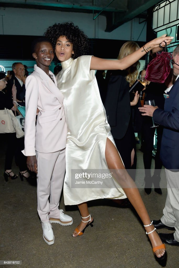 Models Achok Majak and Imaan Hammam attend the Tiffany & Co. Fragrance launch event on September 6, 2017 in New York City.