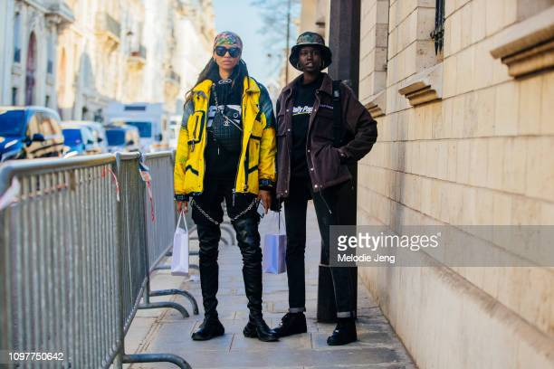 Models Adesuwa Aighewi and Adut Akech after the Dior show during Couture SS19 Fashion Week on January 21 2019 in Paris France Adesuwa wears a...