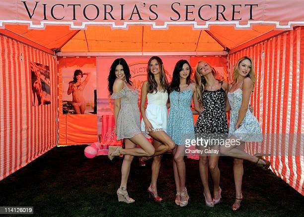 Models Adriana Lima Alessandra Ambrosio Miranda Kerr Erin Heatherton and Candice Swanepoel attend Victoria's Secret Bombshells Kick Off The Bombshell...