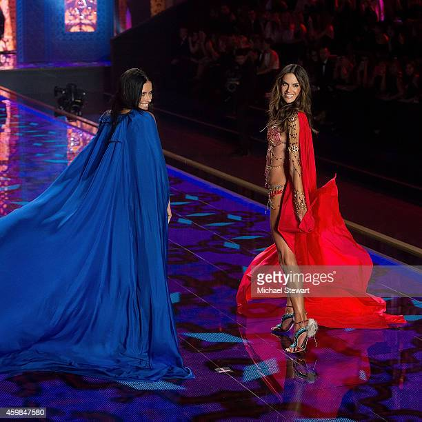 Models Adriana Lima and Alessandra Ambrosio wearing the Dream Angels Fantasy Bras walk the runway at the annual Victoria's Secret fashion show at...