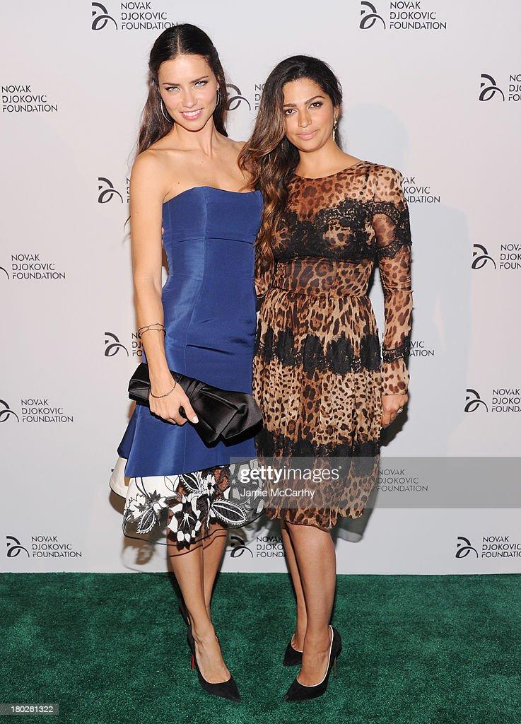 Models Adriana Lima (L) and Camila Alves attend the Novak Djokovic Foundation New York dinner at Capitale on September 10, 2013 in New York City.