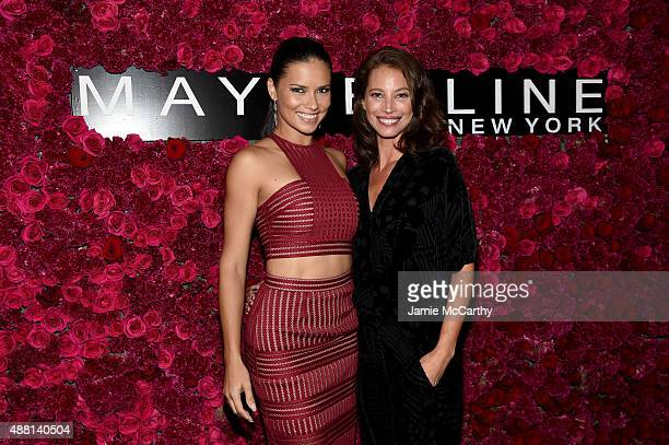 Models Adriana Lima and Christy Turlington attend Maybelline New York Celebrates New York Fashion Week at Sixty Five on September 13 2015 in New York...