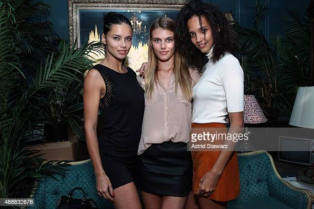 Models Adriana Lima Madison Headrick and Cora Emmanuel attend Society Hosts Fundraiser For English In Mind Institute at The Wooly on September 17...