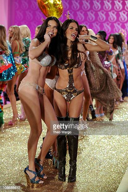 Models Adrianna Lima wearing $2 million dollar fantasy bra by Damiani with Alessandra Ambrosio walk the runway during the 2010 Victoria's Secret...