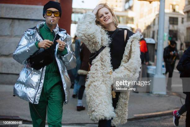 Models Adwoa Aboah and Hanne Gaby Odiele after the Marc Jacobs show at the Park Avenue Armory on Day 8 of New York Fashion Week Fall/Winter 2017 on...