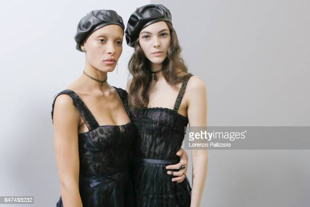 Models Adwoa Aboah and Vittoria Ceretti are seen backstage before the Christian Dior show as part of the Paris Fashion Week Womenswear Fall/Winter...