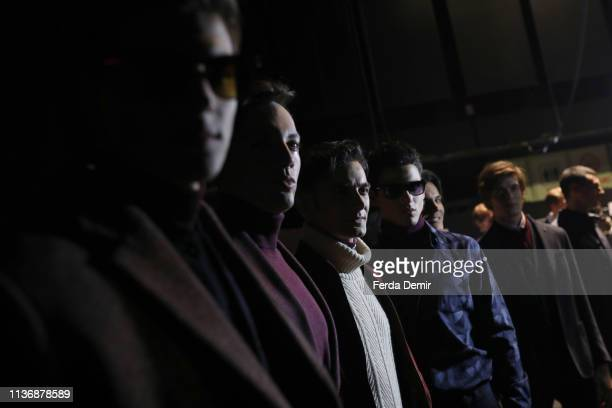 Models ae seen backstage ahead the Damat show during MercedesBenz Istanbul Fashion Week at the Zorlu Performance Hall on March 19 2019 in Istanbul...
