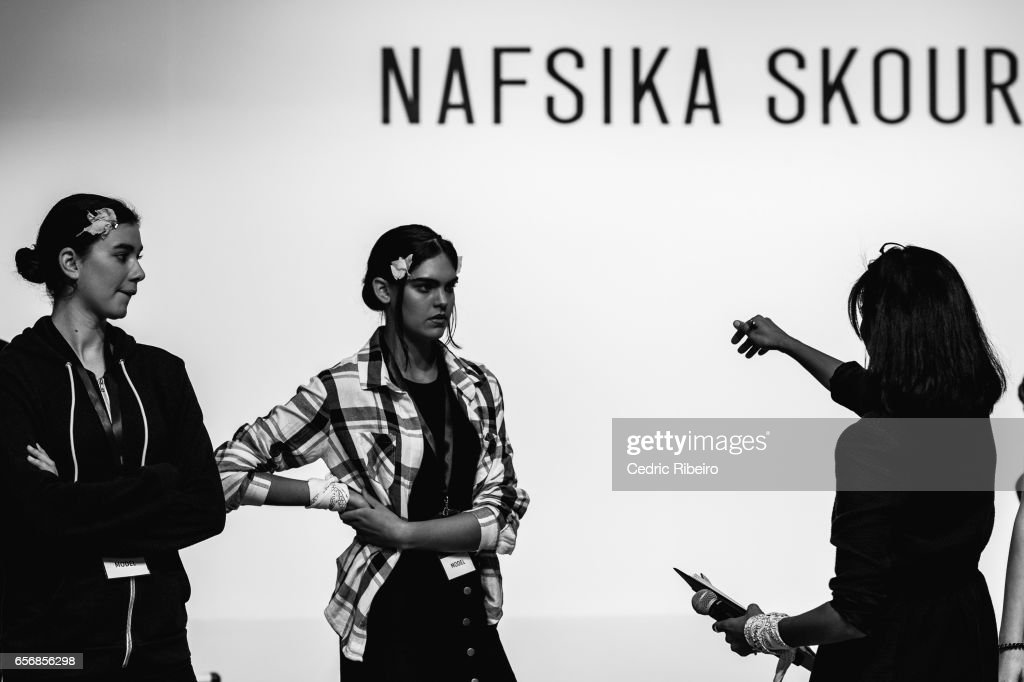 Models ahead of the Nafsika Skourti Presented by EPICxSamsung presentation at Fashion Forward March 2017 held at the Dubai Design District on March 23, 2017 in Dubai, United Arab Emirates.