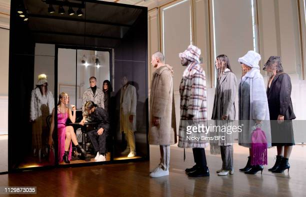 Models ahead of the Xu Zhi Presentation during London Fashion Week February 2019 on February 15 2019 in London England