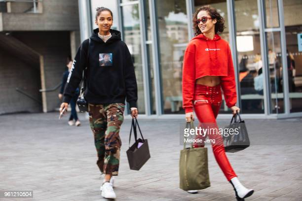 Models Aiden Curtiss and Alanna Arrington during London Fashion Week Spring/Summer 2018 on September 17 2017 in London England Aiden wears a black...
