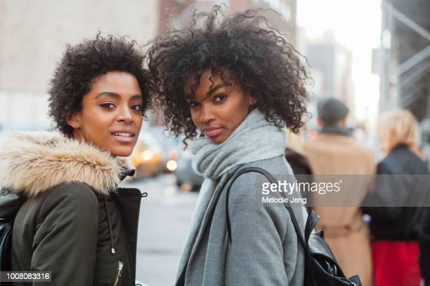 Models Alecia Morais Djenice Duarte on Day 2 of New York Fashion Week Fall/Winter 2017 on February 10 2017 in New York City