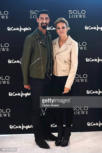 Models Alejandra Silva and Paolo Henriques present the new fragance by Loewe 'Solo Loewe Cedro' at the El Corte Ingles Castellana store October 6...