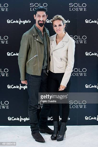 Models Alejandra Silva and Paolo Henriques present the new fragance by Loewe 'Solo Loewe Cedro' at El Corte Ingles store on October 6, 2015 in...
