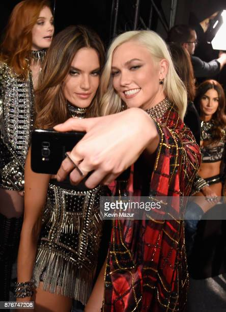 Models Alessandra Ambrosio and Karlie Kloss pose backstage during 2017 Victoria's Secret Fashion Show In Shanghai at MercedesBenz Arena on November...